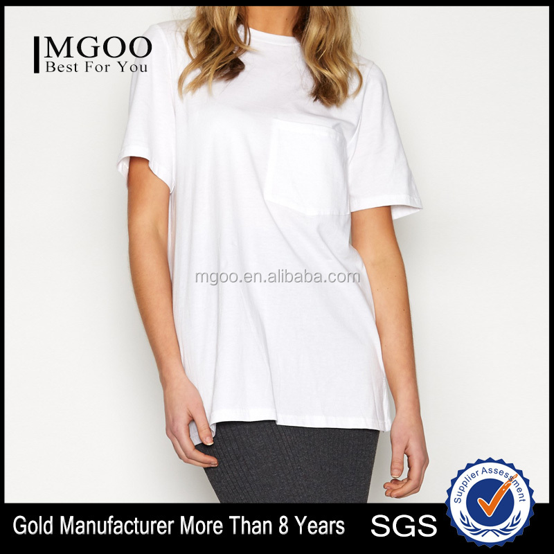 Custom Made Lady Tee with Front Patch Pocket Light Weight Womens Tshirt Wholesale White Stretch Cotton T-shirt