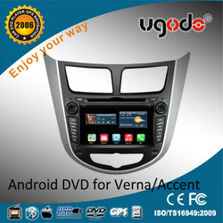 ugode android double din car radio for hyundai accent korea 2011 2012 2013 2014 2015 with gps 1024*600 16GB memory