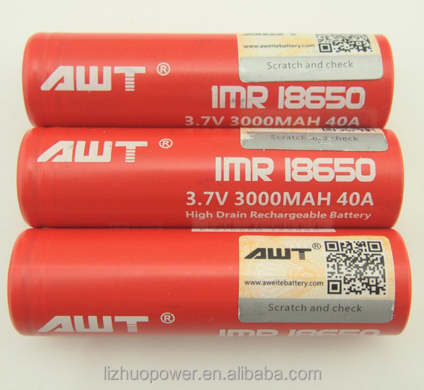 AWT rechargeable battery 18650 3000mah 40a rechargeable battery lithium battery szn 18650 cj 18650 battery awt 18650 40a