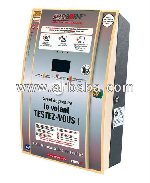 ALCOBORNE Public Infrared Breathalyzer (wall mounted). Vending Machine. Coin operated.