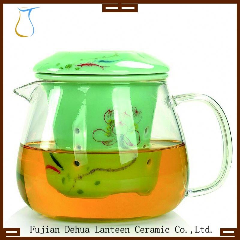 TB0102-09-1 Celadon hand-painted glass teapot with ceramic filter