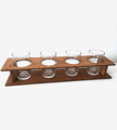2 layers Reclaimed Oak Wood Beer Flight with Glasses, cup holders for sale