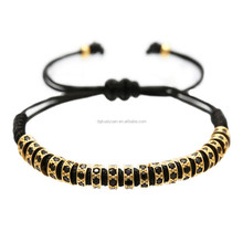 macrame bracelet patterns with beads,24K Gold Plated Micro Pave Black CZ Stoppers Beads Macrame Bracelet For Men Women jewelry