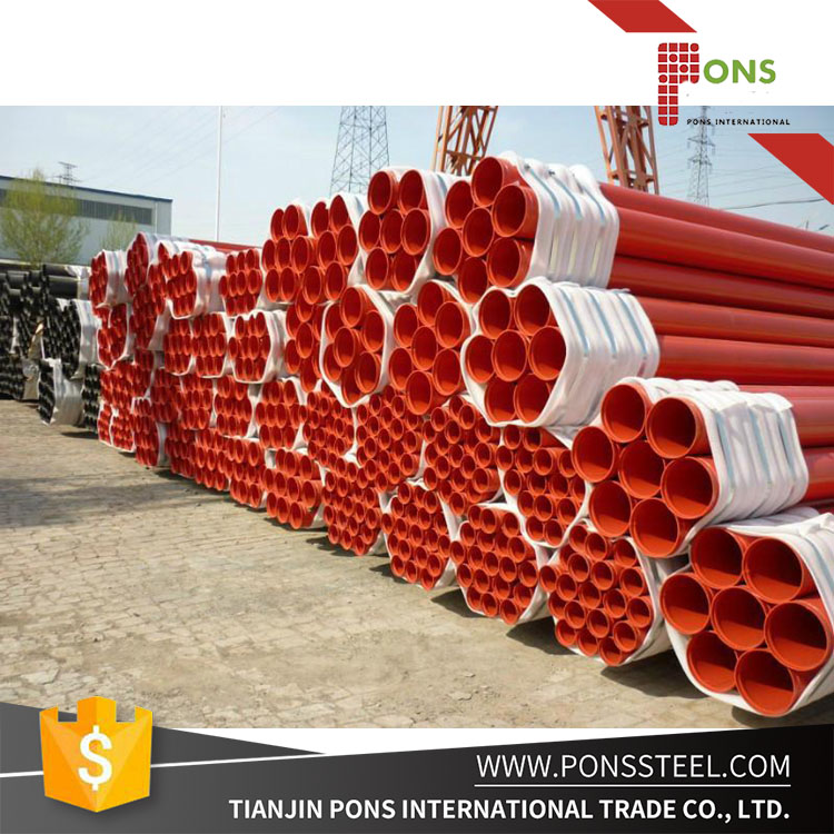 ERW Seamless Steel Pipe with Grooved Painting Red