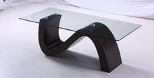 2016 New design walnut color MDF S shaped coffee table for living room
