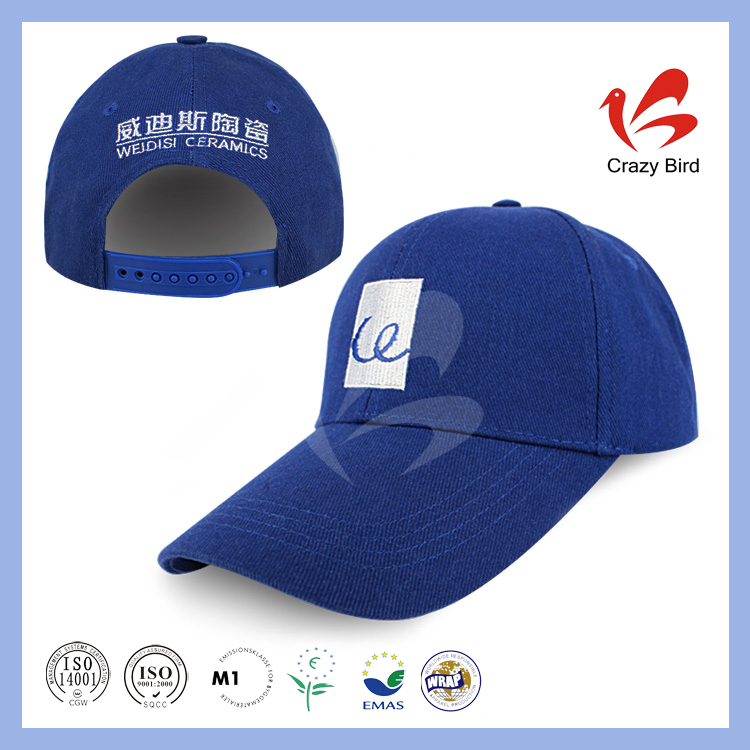 Crazy Bird Top Quality Cotton Blue TC(ordinary) Sweat Band 7 Holes Plastic Buckle Lightweight Baseball Cap with Embroidery