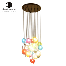 Bright Colours Glass Plating Hanging Glass Balls Pendant E27 Decorative Fancy Light Led Ceiling Lamp Chandelier Modern