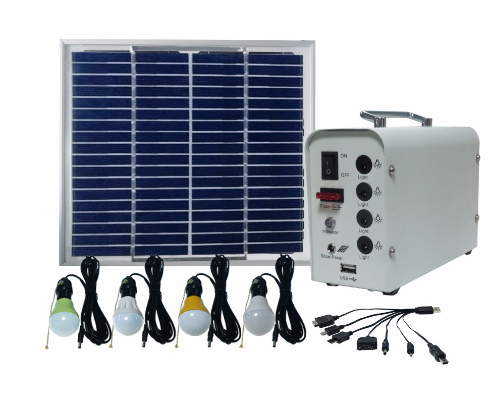 small solar lighting system solar energy light with 4 bulbs and phone charger