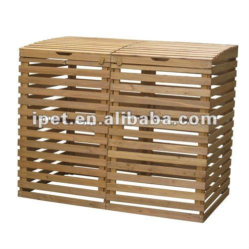 Large Cheap Outdoor Wooden Double Rubbish Bin
