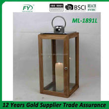 Traditional stainless steel and Light Wood Candle Holder Decorative Hanging Lantern ML-1891