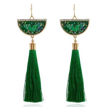Cotton Long Tassel Earrings Fashion Jewelry 2017 Bohemian Multicolor Half Round Crystal Pendant Earrings for Women