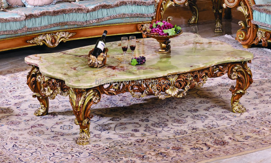 Luxury Victorian Wood Carving Coffee Table With Marble Top/Classic Living Room Furniture Wooden ...