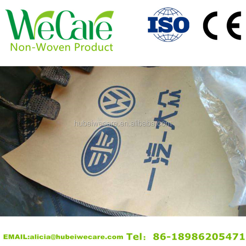 Hot selling logo printable non woven disposable kraft paper car floor mats