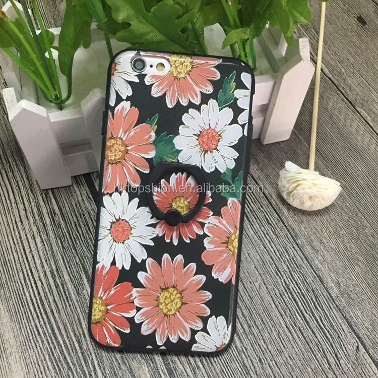 Flowers design shockproof for iphone 7 case with stand 360 degree rotating ring holder case cover