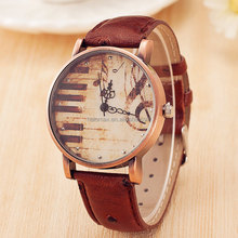 NEW Vintage Piano Musical Notation Watches Women Casual Quartz Watch Female PU Leather Men simple Watches Relogio Feminino Gift