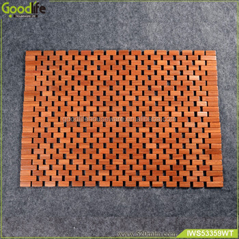 Teak wood non slip bath mat set wholesale