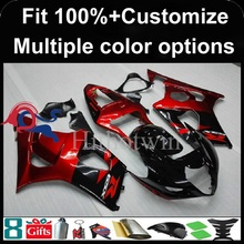 Injection mold red black Body motorcycle cowl for Suzuki GSX-R1000 2003-2004 03 04 GSXR1000 2003 2004 03-04 ABS Plastic Fairing