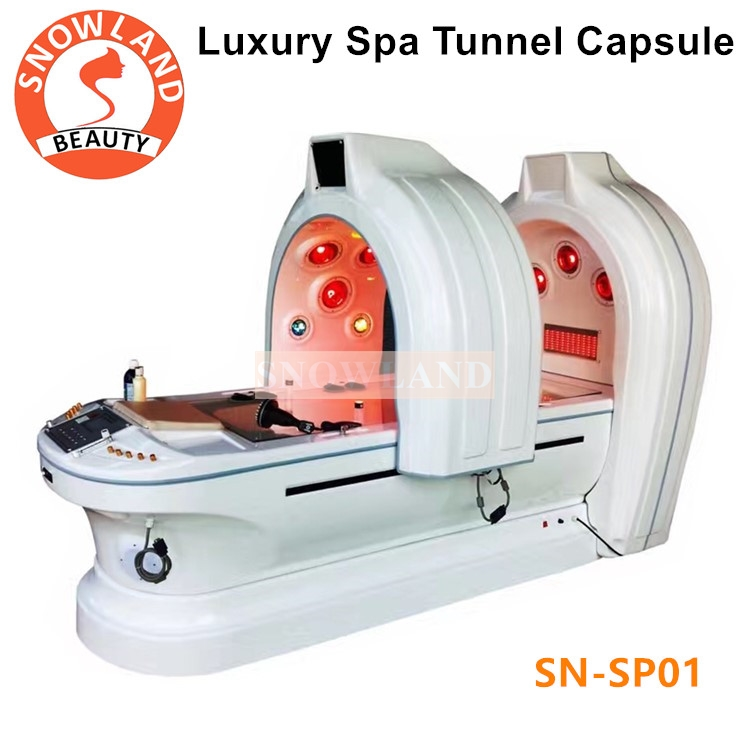 110v/220v Ozone Dry SPA Infrared Sauna Capsule With Photon Light Magic Tunnel