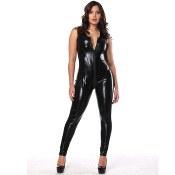 Gay club wear fetish clothing leather catsuit for women