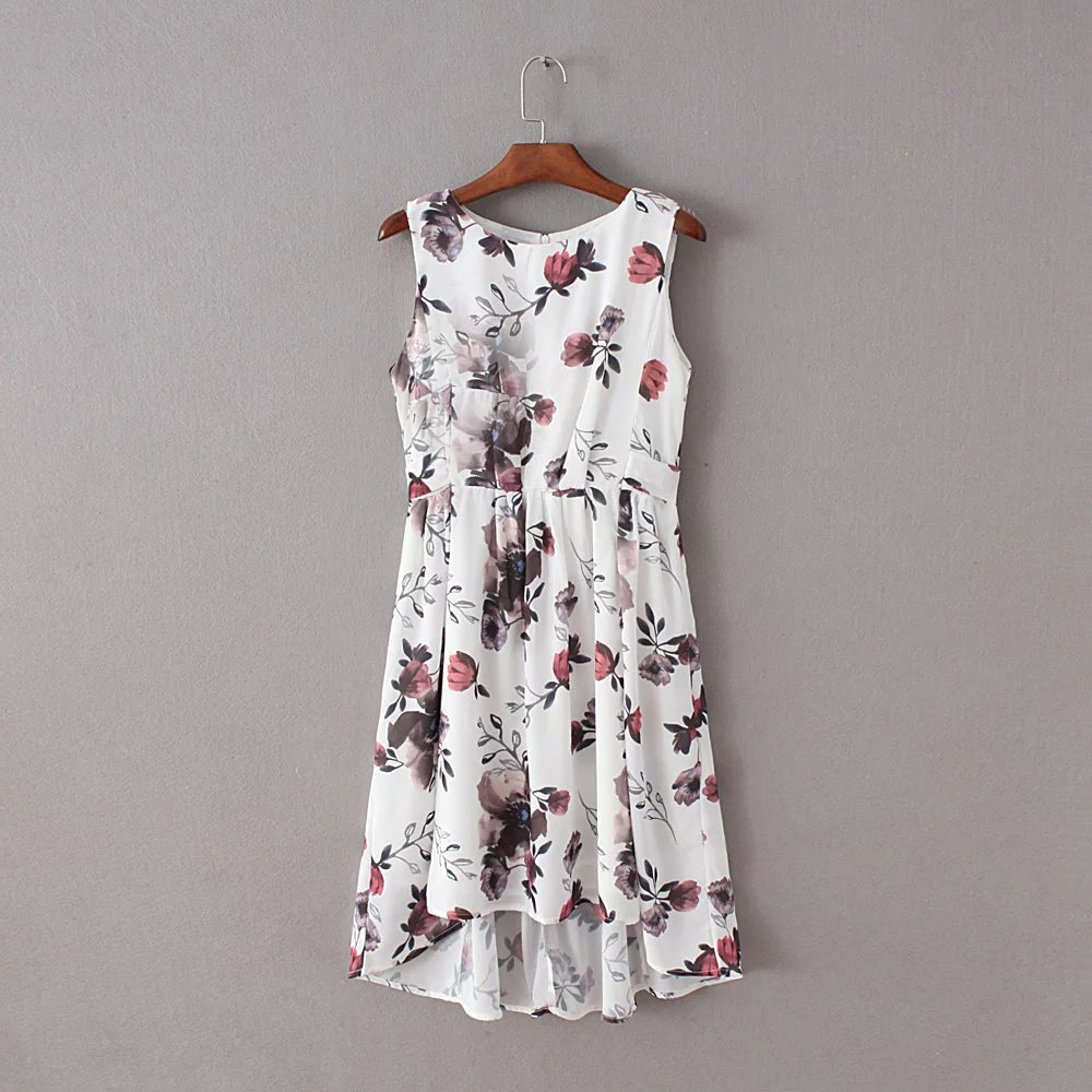 Summer clothing chiffon breathable lady frock printing garment factory