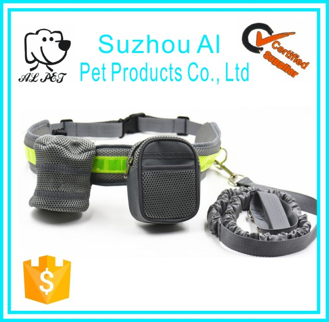 Adjustable Waist Belt and Flexible Bungee Belt Pet Running Walking Training Leash Reflective Stripe Hands Free Dog Leash