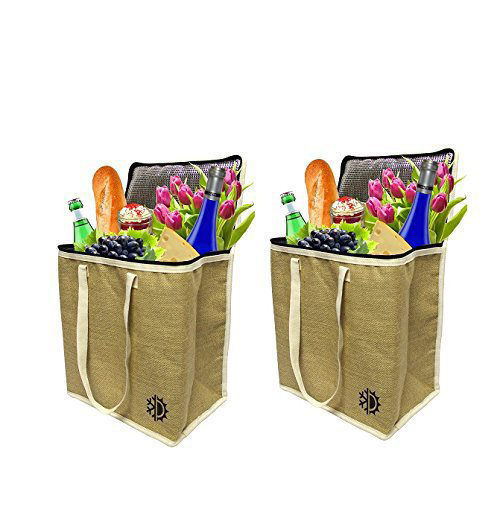 New Design Large Jute Insulated Shopping Grocery Bags Cooler w ZIPPER TOP LID Thermal Cooler Tote