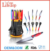 11 Pc Kitchen Set with 5 Knives and 5 Utensils Kitchen Knife and Utensil Set with Rotating Stand