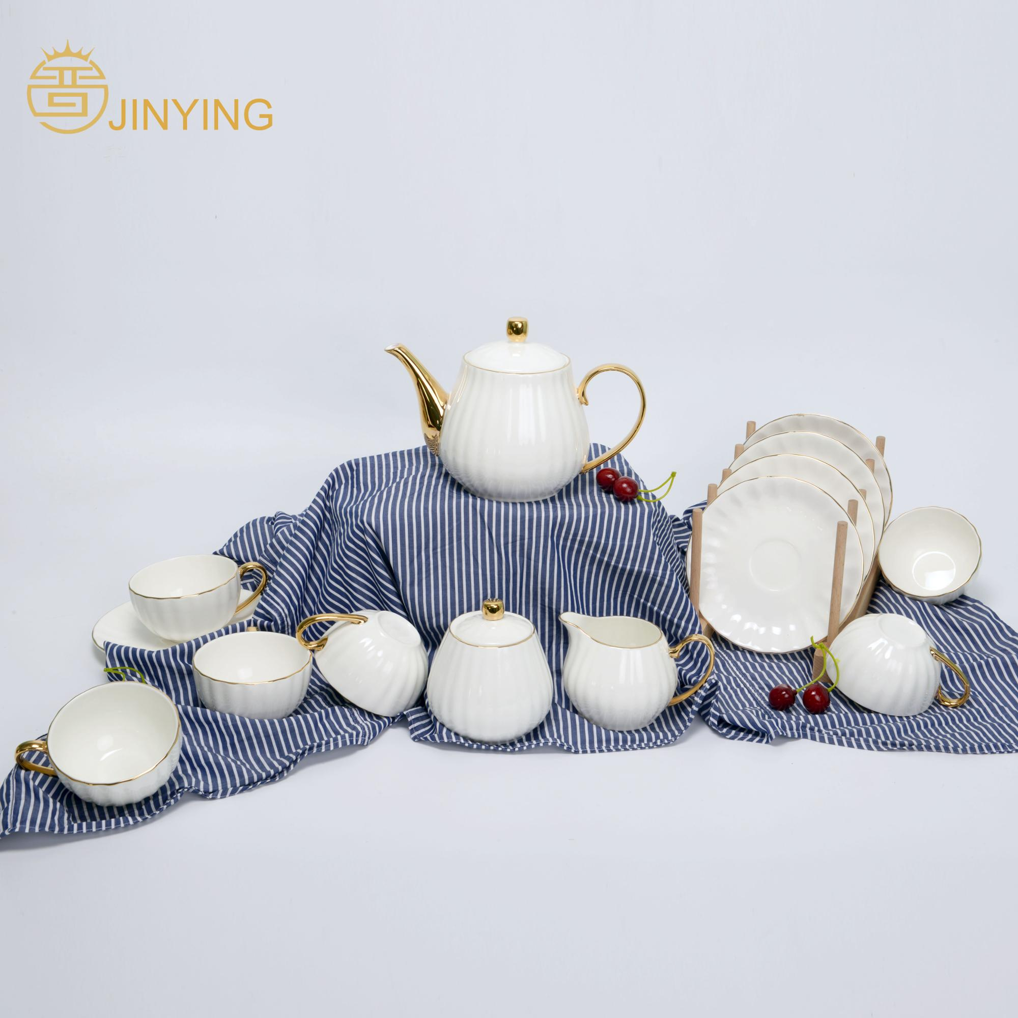 High quality new design European style 15 pcs luxury gold <strong>coffee</strong> & tea set for restaurant & home & wedding