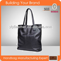 3501 black genuine soft leather simple design ladies handbag shoping bag