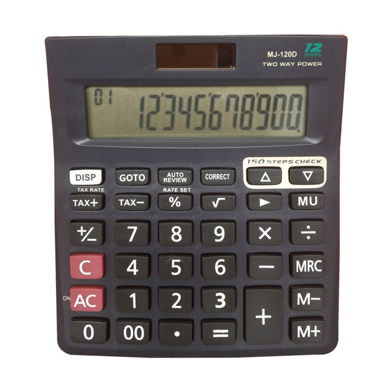 high quality dual power 12 digits lcd display check correct calculator
