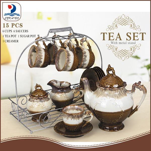 PXM1074-15/S 15pcs classic ceramic tea and coffee set with metal stand