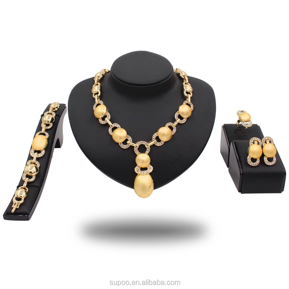 African Jewelry Sets Golden Necklace Earrings Bracelet Bridal Wedding Jewelry Sets