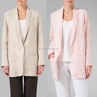 Softly Boyfriend Style Blazers Women Unlined Linen Long Sleeve Jacket With Pocket One Single Button Sleek Elongated Lapel Design
