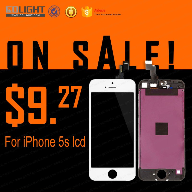 Front assembly lcd display + touch screen digitizer complete for iPhone 5s 5G Black White