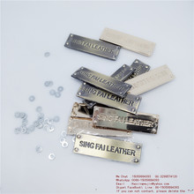under show sales Custom brand Leather metal name tags Set of gasket wafer leg is fixed