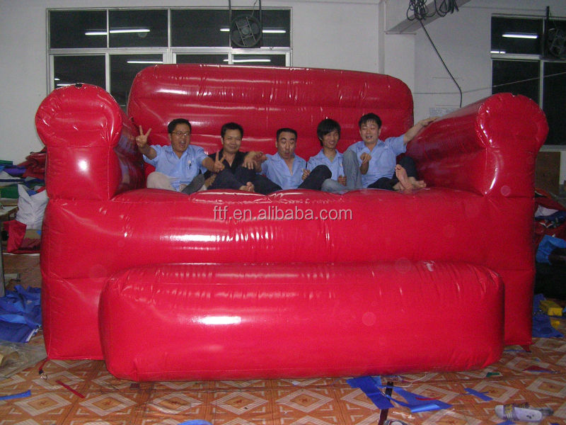 hot sale high quality used strong 4 seat red giant inflatale sofa/cheap large inflatable sofa