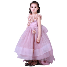 Short Front Long Back Luxurious Gorgeous Flower Girl Dress for Wedding Festa Dress Kids Prom Dresses Tutu Fairy Bridesmaid
