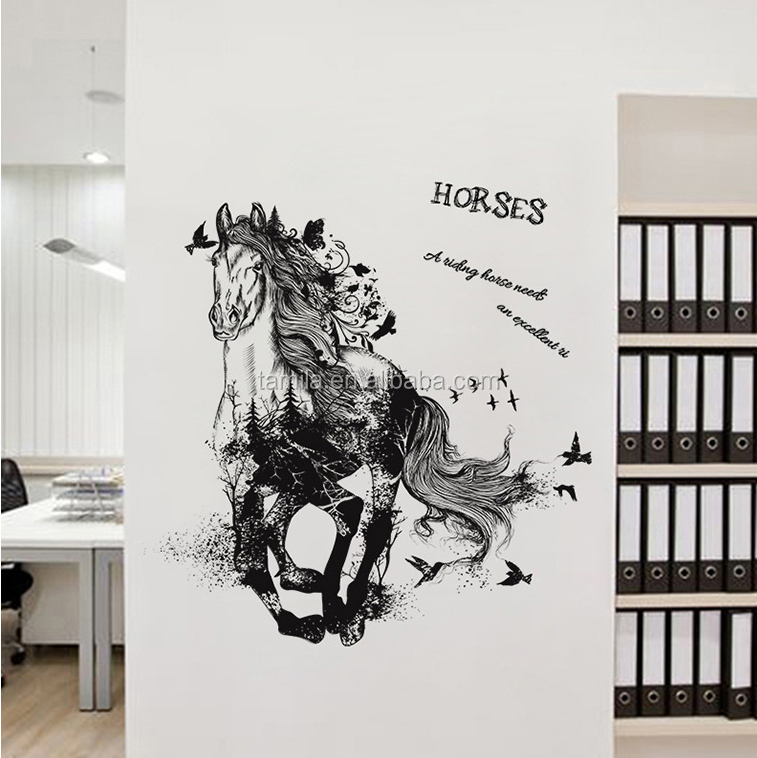 Creative wall sticker decoration	horse racing wall sticker bedroom wall decal sticker
