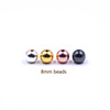 Tryme 100pcs/lot 8MM Round Hole Gold color Silver color Beads Hematite Stone DIY Bracelet Accessories Jewelry Making Wholesale