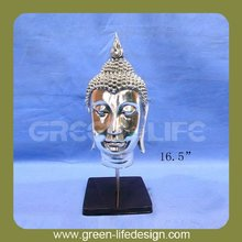 16.5 inch religious silver buddha head with stand