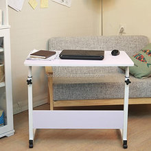 folding wooden computer movable desk with wheels