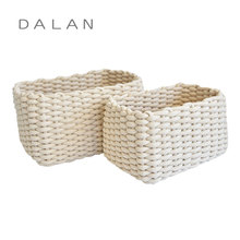 Best selling 100% handmade cotton rope woven storage basket rectangle