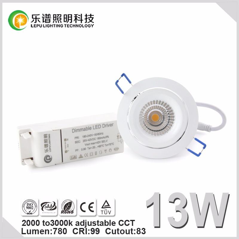 Nordic hot sell 83mm Cutout recessed led downlight CCT Adjustable 2000-2800k 9w 13w 15w