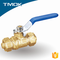cast iron stainless steel handle copper ball cw617n NPT thread full port manual power forged brass ball valve lead free union in