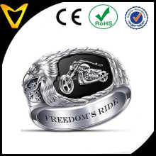 Cheap Stainless Steel Biker Rings, Skull Rings For Harley Riders, Freedom's Ride Men's Motorcycle Ring