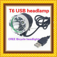 china supplier new product 10 w cree XMl T6 mobile power supply USB bicycle headlights/T6 USB headlamp
