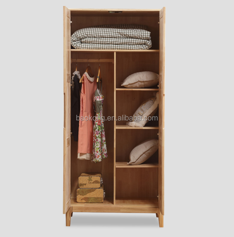 Solid Wood Modern Nordic Style Bedroom 2 Door Wardrobe Design
