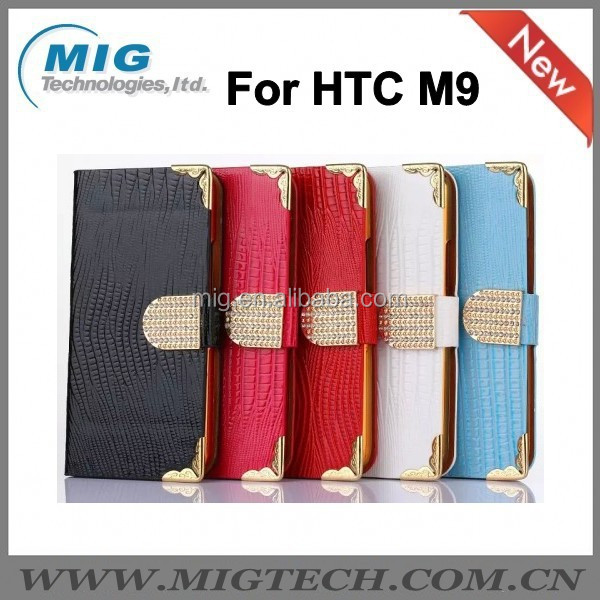 For HTC M9 case, with diamond PU leather case For HTC M9 <strong>Phone</strong> case