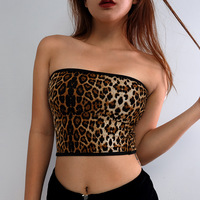 Sexy Fashion Tank Tops Vest Halter Off Shoulder Camisole Leopard Print women's crop top