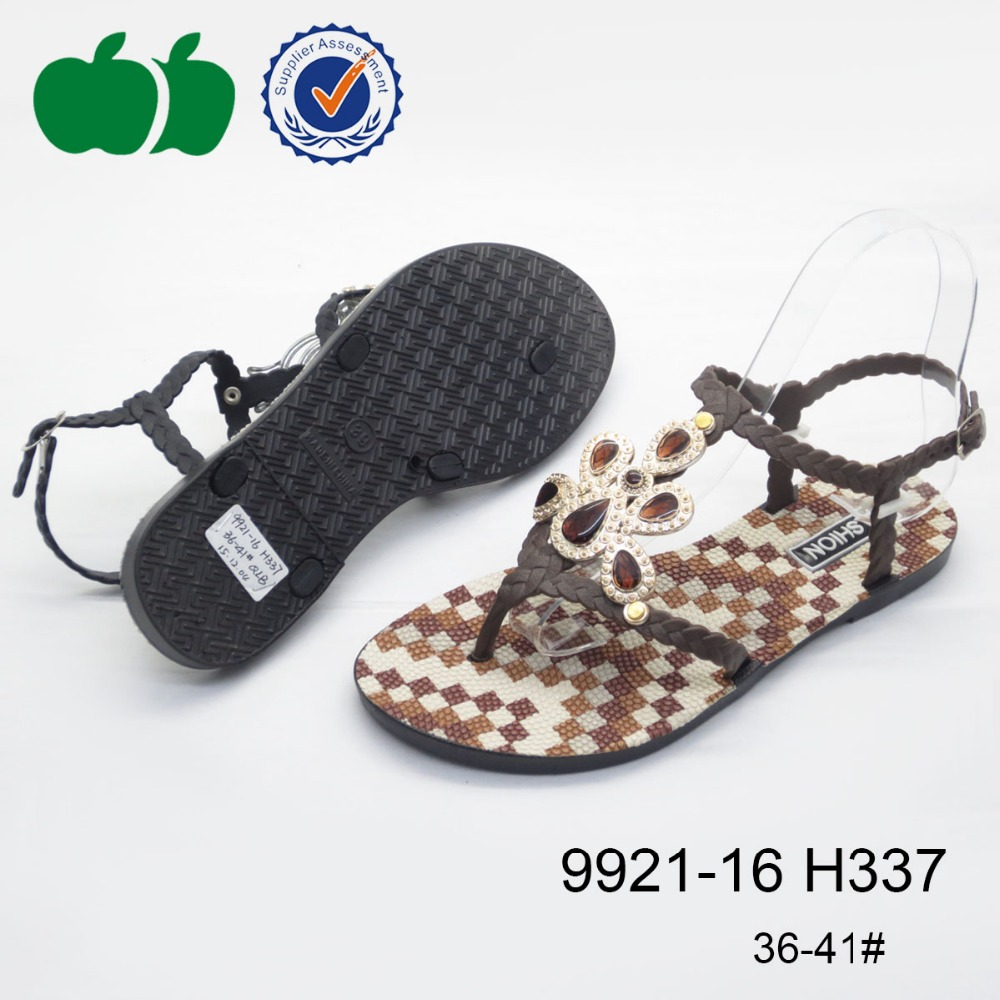 2016 ladies fashion shoes latest women flat plastic sandals